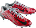 Football Collectibles:Others, 2014 Cardale Jones Game Worn, Signed Ohio State Buckeyes Cleats....