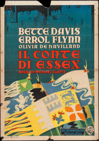 """The Private Lives of Elizabeth and Essex (Warner Brothers, 1940s). Italian Foglio (27.5"""" X 39""""). Swashbuckler..."""