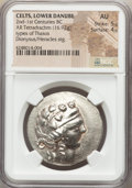 Ancients:Celtic, Ancients: LOWER DANUBE. Imitating Thasos. Ca. 2nd-1st centuries BC.AR tetradrachm (16.92 gm)....