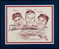Baseball Collectibles:Photos, Willie Mays, Duke Snider and Mickey Mantle Multi Signed Print....