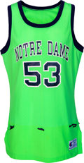 Basketball Collectibles:Uniforms, 1991 Joe Ross Game Worn Notre Dame Fighting Irish Jersey - One GameStyle. ...