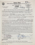Baseball Collectibles:Others, 1969 Janis Joplin Signed Concert Performance Contract....