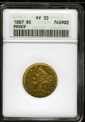 Proof Liberty Half Eagles: , 1887 $5 PR55 ANACS. NGC Census: (0/3). PCGS Population(3/8).Mintage: 87. (#8482)...