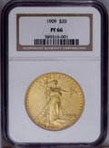 Proof Saint-Gaudens Double Eagles: , 1909 $20 PR66 NGC. NGC Census: (9/4). PCGS Population(1/2).Mintage: 67. Numismedia Wsl. Price: $71,500. (#9206)...