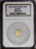 California Fractional Gold: , 1854 50C Liberty Round 50 Cents, BG-403, R.7, MS64 NGC. PCGSPopulation (2/0). (#10439)...
