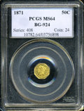 California Fractional Gold: , 1871 50C Liberty Octagonal 50 Cents, BG-924, R.3, MS64 PCGS. PCGSPopulation (17/1). (#10782)...