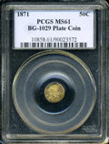 California Fractional Gold: , 1871 50C Liberty Round 50 Cents, BG-1029, High R.4, MS61 PCGS. PCGSPopulation (5/13). (#10858)...