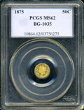 California Fractional Gold: , 1875 50C Liberty Round 50 Cents, BG-1035, High R.5, MS62 PCGS. PCGSPopulation (2/9). (#10864)...
