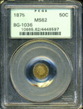 California Fractional Gold: , 1875 50C Indian Round 50 Cents, BG-1036, Borderline R.8, MS62 PCGS....