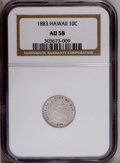 Coins of Hawaii: , 1883 10C Hawaii Ten Cents AU58 NGC. NGC Census: (22/86). PCGSPopulation (22/106).Mintage: 250,000. (#10979)...