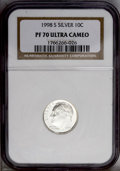 Proof Roosevelt Dimes: , 1998-S 10C Silver PR70 Deep Cameo NGC. NGC Census: (160/0). PCGSPopulation (35/0). Numismedia Wsl. Price: $220. (#95287)...