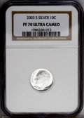 Proof Roosevelt Dimes: , 2003-S 10C Silver PR70 Deep Cameo NGC....