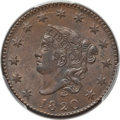 Large Cents, 1820 1C Large Date MS64 Brown PCGS Secure. CAC. PCGS Population (209/149 and 8/1+). NGC Census: (165/175 and 1/1+). Mintage...