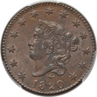1820 1C Large Date MS64 Brown PCGS Secure. CAC. PCGS Population (209/149 and 8/1+). NGC Census: (165/175 and 1/1+). Mint...