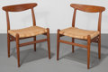 Furniture : Continental, Hans Wegner (Danish, 1914-2007). Pair of Dining Chairs,1953, C. M. Madsen Fabriker. Oak, bamboo caning. 29-3/4 x 19-1/2...(Total: 2 Items)