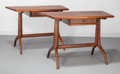 Furniture : American, Sam Maloof (American, 1916-2009). Early Pair of Side Tables,1961. California walnut, leather. 29-1/2 x 41-1/2 x 22 inch...(Total: 2 Items)