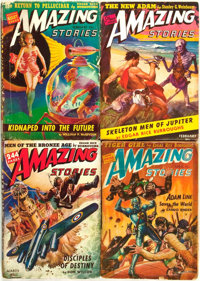 [Pulps]. Edgar Rice Burroughs. Four Issues of Amazing Stories Featuring Short Works by Burro