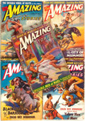 Books:Pulps, [Pulps]. Edgar Rice Burroughs. Five Issues of AmazingStories Featuring Short Works by Burroughs. January - Octo...(Total: 5 Items)