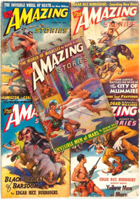 [Pulps]. Edgar Rice Burroughs. Five Issues of Amazing Stories Featuring Short Works by Burro