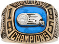 Football Collectibles:Others, 1995 Frankfurt Galaxy World League of American Football Championship Ring Presented to Ernie Stautner....