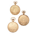Timepieces:Pocket (post 1900), Two Waltham's & Hampden Pocket Watches. ... (Total: 3 Items)