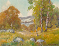 Fine Art - Painting, American:Modern  (1900 1949)  , Peter Lanz Hohnstedt (American, 1872-1957). Fall Landscape withBirch Trees. Oil on canvas. 16 x 20 inches (40.6 x 50.8 ...