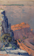 Fine Art - Painting, American:Modern  (1900 1949)  , Dawson Dawson-Watson (British/American, 1864-1939). GrandCanyon. Oil on canvas laid on board. 8-3/4 x 5-5/8 inches(22....
