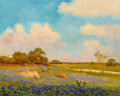 Texas:Early Texas Art - Impressionists, Robert William Wood (American, 1889-1979). Bluebonnets in theCountryside. Oil on canvas. 30 x 36 inches (76.2 x 91.4 cm...