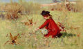 Texas:Early Texas Art - Modernists, Dawson Dawson-Watson (British/American, 1864-1939). Picking aPosy, 1891. Oil on canvas. 12 x 20 inches (30.5 x 50.8 cm)...
