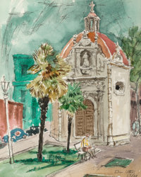 Bror Utter (American, 1913-1993) Chapel, 1963/64 Watercolor on paper 13-1/2 x 10-3/4 inches (34.3