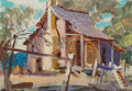 Fine Art - Painting, American:Contemporary   (1950 to present)  , Reveau Bassett (American, 1897-1981). Country Cabin. Oil oncanvasboard. 8-1/4 x 10-1/4 inches (21.0 x 26.0 cm). Signed ...