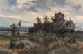 Fine Art - Painting, American:Modern  (1900 1949)  , José Vives-Atsara (Spanish/American, 1919-2004). MissionPresidio 'La Bahia' Goliad, Texas, 1971. Oil on canvas. 24 x36...