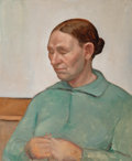 Fine Art - Painting, American:Modern  (1900 1949)  , Dickson Reeder (American, 1912-1970). Old Woman in GreenDress, 1936. Oil on canvas laid on board. 23-3/4 x 20 inches(6...