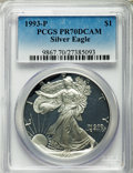 Modern Bullion Coins, 1993-P $1 Silver Eagle PR70 Deep Cameo PCGS. PCGS Population (734). NGC Census: (446). Numismedia Wsl. Price for problem f...