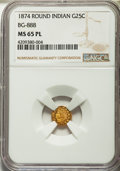 California Fractional Gold: , 1874 25C Indian Round 25 Cents, BG-888, Low R.5, MS65 ProoflikeNGC. NGC Census: (1/2). PCGS Population (0/1). ...