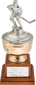 Hockey Collectibles:Others, 1973-74 Bobby Hull Winnipeg Jets Leading Scorer Trophy....