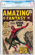 Silver Age (1956-1969):Superhero, Amazing Fantasy #15 (Marvel, 1962) CGC FN- 5.5 Cream to off-white pages....