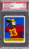 Football Cards:Singles (Pre-1950), 1948 Leaf Sammy Baugh (Maroon Jersey) #34 PSA NM+ 7.5 - Pop Two,Two Higher. ...