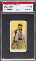 Baseball Cards:Singles (Pre-1930), 1909-11 T206 Hindu (Brown) Napoleon Lajoie (Throwing) PSA VG-EX 4 -Equals Finest PSA Known!...