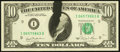 Error Notes:Ink Smears, Fr. 2025-I $10 1981 Federal Reserve Note. Choice AboutUncirculated.. ...