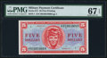 Military Payment Certificates:Series 611, Series 611 $5 PMG Superb Gem Unc 67 EPQ.. ...