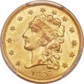 Classic Quarter Eagles, 1836 $2 1/2 Block 8, Second Head of 1837, Breen-6144, Variety 15, R.2, MS64+ PCGS. CAC....