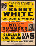 Movie Posters:Rock and Roll, Barry White plus Love Unlimited and Bill Summer with Summers Heatat the Oakland Coliseum & Other Lot (c. 1970s). Concert Po...(Total: 2 Items)
