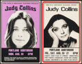 """Movie Posters:Rock and Roll, Judy Collins Lot (Kink FM/Northwest Releasing, 1960s-1970s). Concert Posters (2) (14"""" X 23.75""""). Rock and Roll.. ... (Total: 2 Items)"""