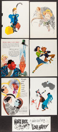"""Movie Posters:Miscellaneous, Al Hirschfeld & Others Lot (1940s-1960s). Trade Ads (38) (9.5"""" X 12.5""""- 10.5"""" X 14""""), Counter Display (4.75"""" X 12.75""""), & Sh... (Total: 40 Items)"""