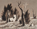 Fine Art - Painting, American:Contemporary   (1950 to present)  , William Lewis Lester (American, 1910-1991). Mesquite Trees,1946. Oil on board. 20 x 25-1/2 inches (50.8 x 64.8 cm). Sig...