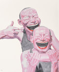 Prints, Yue Minjun (b. 1962). Untitled (Smile-ism). Lithograph in colors on wove paper. 43-1/2 x 35-1/2 inches (110.5 x 90.2 cm)...