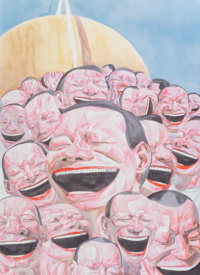 Yue Minjun (b. 1962) Untitled (Smile-ism) Lithograph in colors on wove paper 33-1/4 x 31-1/2 inch
