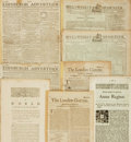 Miscellaneous:Newspaper, Group of Eight British Newspapers/Publications from the Seventeenthand Eighteenth Centuries....
