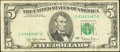 Error Notes:Missing Third Printing, Fr. 1975-C $5 1977A Federal Reserve Note. Fine-Very Fine.. ...